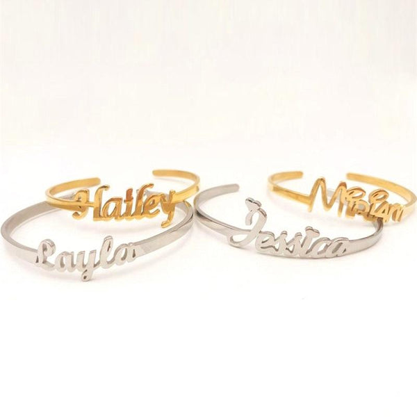 stylish Name Bangle for women in gold rose gold and silver color (Free shipping) | Simply Bo