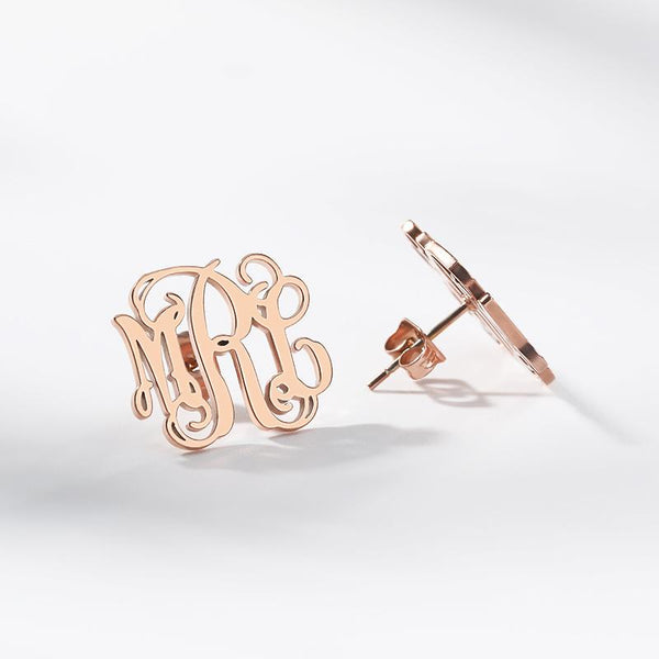 Monogram Earrings jewelry for women in gold rose gold and silver with Free shipping - Simply Bo