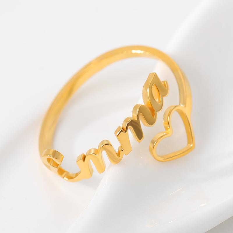stylish Hollow Heart Name Ring for women in gold rose gold and silver color (Free shipping) | Simply Bo