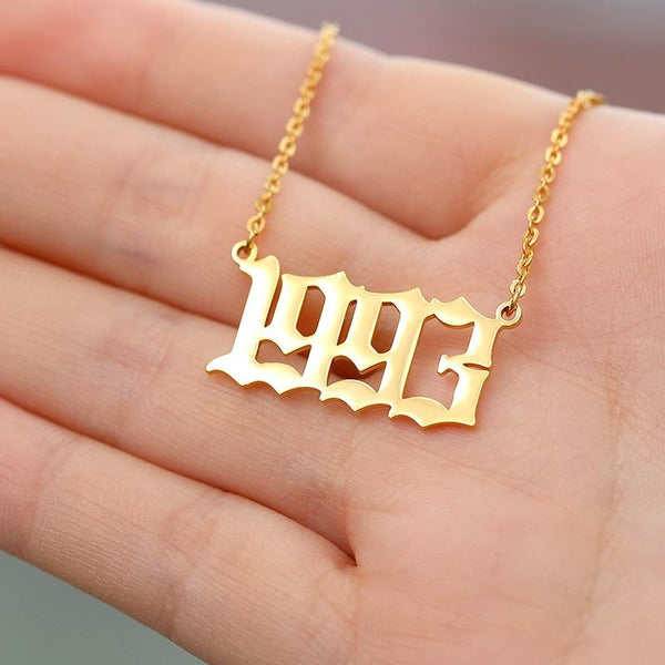 stylish English Year Necklace (1985 to 1997) for women in gold rose gold and silver color (Free shipping) | Simply Bo