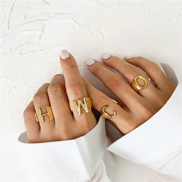 Personalized Custom Initial Letter Jewelry Band Ring in Gold For Girls Free Shipping - Simply Bo