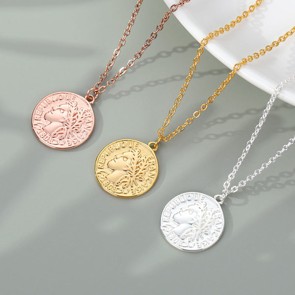 French medallion coin pendant necklace Jewellery for women in gold rose gold and silver Free shipping - Simply Bo