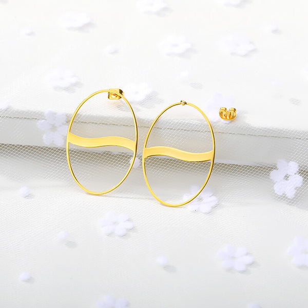 Big Hollow Circle Stud Earrings jewelry for women in gold with Free shipping - Simply Bo