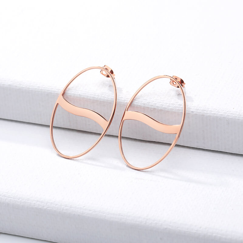 Big Hollow Circle Stud Earrings jewelry for women in rose gold with Free shipping - Simply Bo