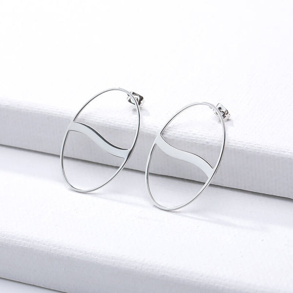 Big Hollow Circle Stud Earrings jewelry for women in silver with Free shipping - Simply Bo