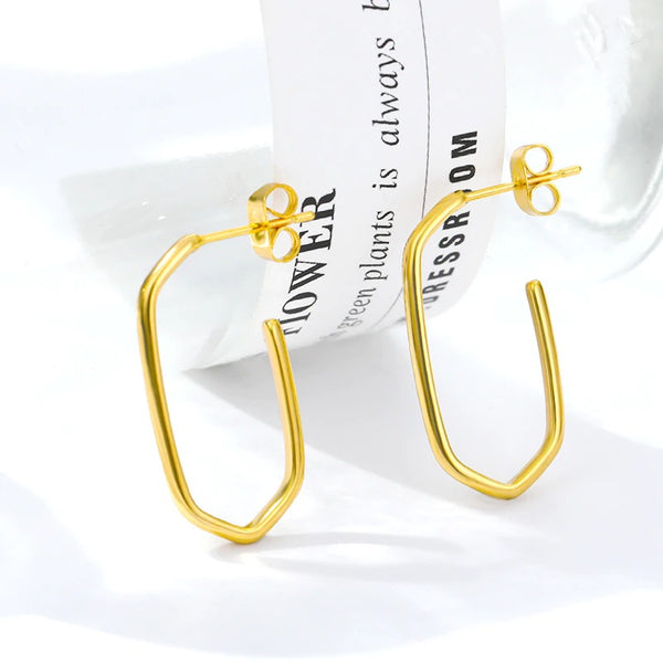 Thin long huggie hoop earrings women everyday jewelry gold-Free Shipping - Simply Bo