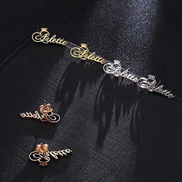 stylish Crown Name Earrings for women in gold rose gold and silver color (Free shipping) | Simply Bo