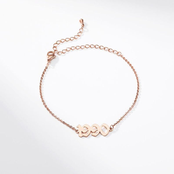 stylish Year Bracelet (1990 to 2002) for women in gold rose gold and silver color (Free shipping) | Simply Bo