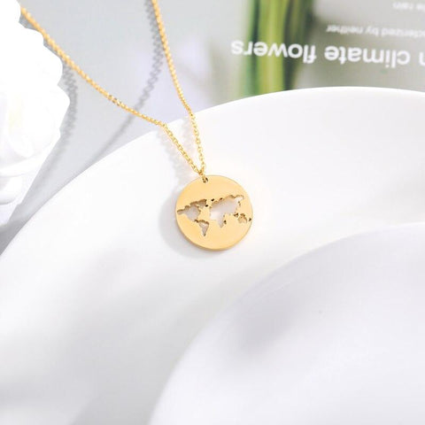 stylish Map Necklace for women in gold rose gold and silver color (Free shipping) | Simply Bo