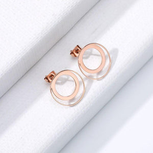 stylish Double Circle Earrings for women in gold rose gold and silver color (Free shipping) | Simply Bo