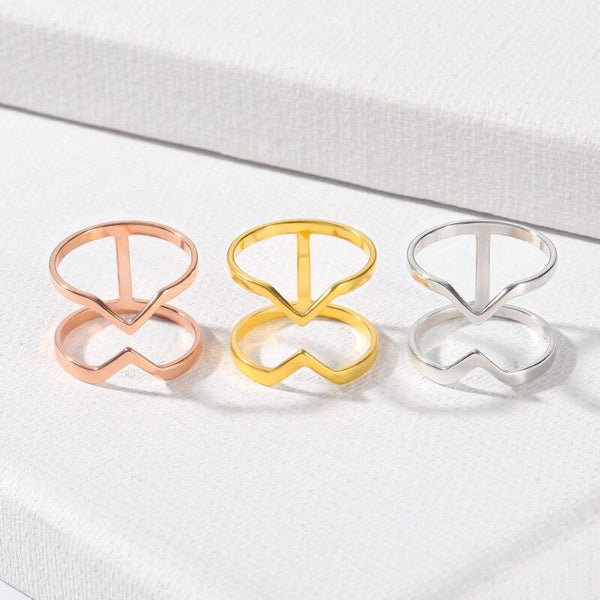 stylish Double V Shape Ring for women in gold rose gold and silver color (Free shipping) | Simply Bo