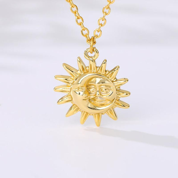 Sun and Moon Necklace jewelry for women in gold rose gold and silver with Free shipping - Simply Bo