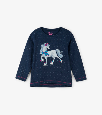 Hatley - Hatley Ice Skating Horse Long Sleeve Tee - Top | Sherbet Kidswear & Gifts - Children's Tops, Kids Polo Shirts, Longsleeve Shirts for Boys and Girls
