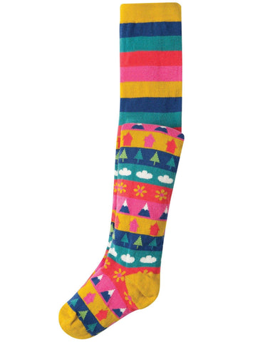Frugi - Frugi Norah Tights Bright Fairisle - Tights | Sherbet Kidswear & Gifts - Children's Tights, Kids Pantyhose