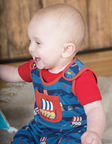 Frugi - Roly Poly Dugaree Kraken up/Viking Boat - Dungaree | Sherbet Kidswear & Gifts - Ethical Children's Clothing and Eco-Friendly Kids Apparel