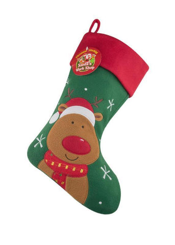 Deluxe Plush Reindeer Christmas Stocking