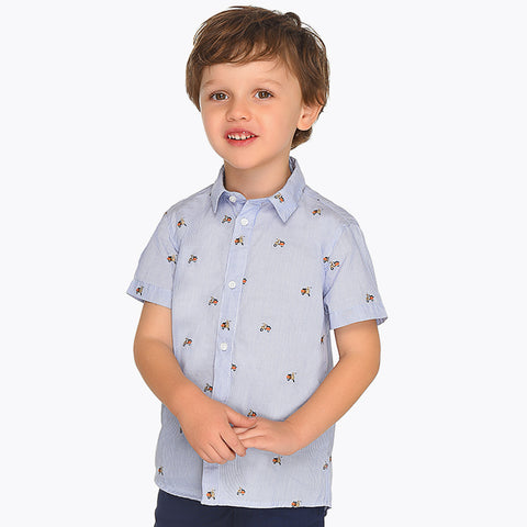 Mayoral Blue SS Striped Shirt 3130 (3-4 Years) (7-8 Years) (8-9 Years)