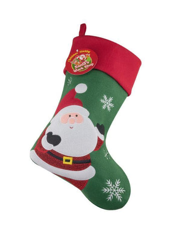 Deluxe Plush Green Santa Christmas Stocking