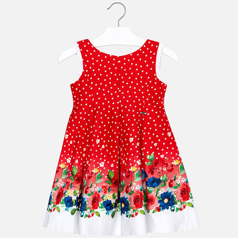 Mayoral Polka Dot Flower Dress 3932 Red (4-5 Years) (6-7 Years) (7-8 Years) (8-9 Years)