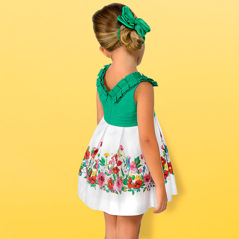 Mayoral Dress with Floral border 3935 (6-7 Years)