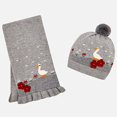 Mayoral - Mayoral Grey Geese Beanie Hat & Scarf Set 10460 - Hat | Sherbet Kidswear & Gifts - Ethical Children's Clothing and Eco-Friendly Kids Apparel