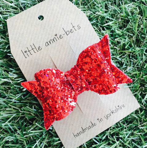 Little Annie-Bets Glitter Bow Ruby Slippers