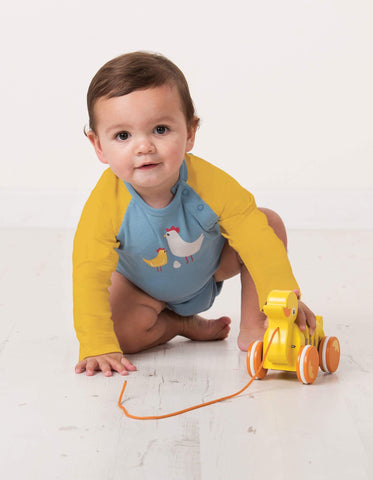 Frugi - Rowan Raglan Body River Blue/Chickens - Body | Sherbet Kidswear & Gifts - Ethical Children's Clothing and Eco-Friendly Kids Apparel