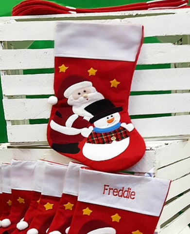 Felt Santa & Snowman Christmas Stocking