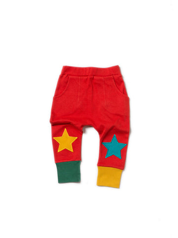 Little Green Radicals - Red Star Joggers A18137 - Pant | Sherbet Kidswear & Gifts - Children's Trousers, Kids Pants, Toddler Corduroy