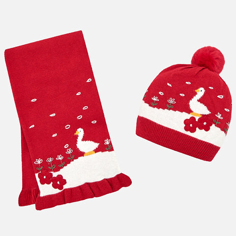 Mayoral - Mayoral Red Geese Beanie Hat & Scarf Set 10460 - Hat | Sherbet Kidswear & Gifts - Ethical Children's Clothing and Eco-Friendly Kids Apparel