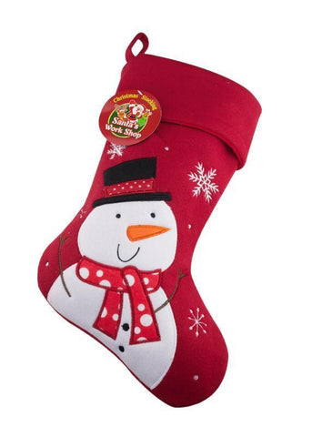 Deluxe Plush Red Snowman Christmas Stocking