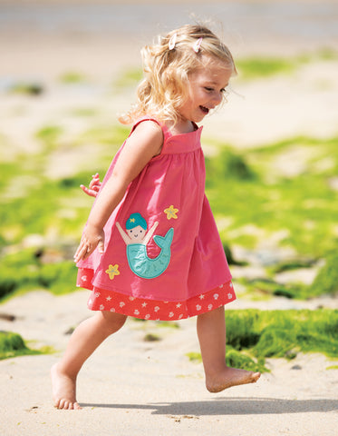 Frugi Rosemary Reversible Dress (Coral/ Mermaid) (6-12 Months) (12-18 Months)