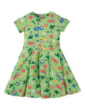 Frugi Spring Skater Dress (Soft Green Tropical Tractors) (2-3 Years) (5-6 Years) (7-8 Years) (9-10 Years)