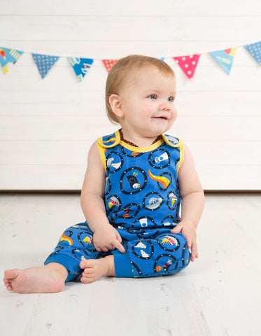 Frugi Kneepatch Dungaree (All Aboard) (0-3 Months) (3-6 Months)