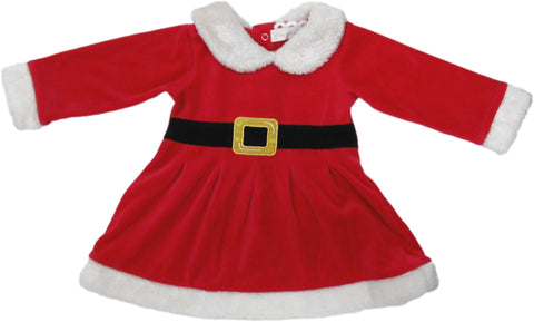 BabyBow - Baby Christmas Santa Velour Dress C11 - Dress | Sherbet Kidswear & Gifts - Children's Clothing on Sale, Discounted Kids Apparel