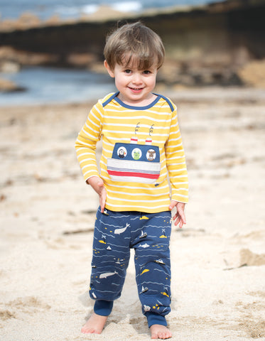Bobby Applique Top (Sun Yellow Breton/Boat) (6-12 months)