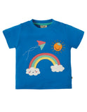 Frugi Little Creature Applique Top (Sail Blue/Rainbow) (6-12 Months) (18-24 Months)
