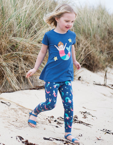 Frugi Sophie Applique Top (Marine Blue/Mermaid)