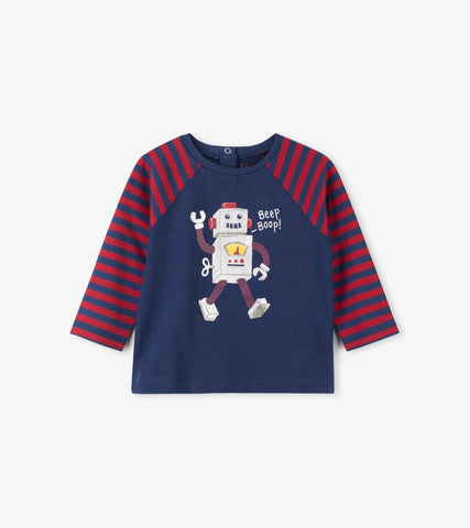 Hatley - Hatley Friendly Robot Raglan Baby Tee - Top | Sherbet Kidswear & Gifts - Children's Tops, Kids Polo Shirts, Longsleeve Shirts for Boys and Girls