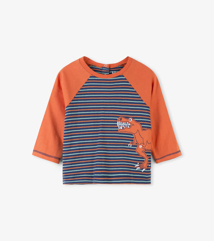 Hatley - Hatley Toothy Rex Raglan Baby Tee - Top | Sherbet Kidswear & Gifts - Children's Tops, Kids Polo Shirts, Longsleeve Shirts for Boys and Girls