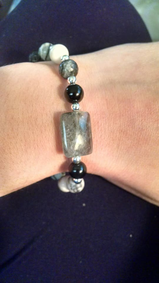 Black Network Agate, Smokey Quartz, Obsidian, and Lava Bracelet