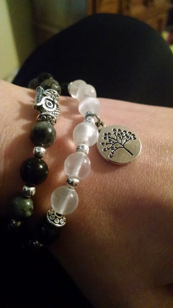 Healing Selenite, Black Tourmaline, and Lava Bracelet