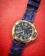AVATAR Camouflage Blue Waterproof Silicone Rubber Watch Strap 24mm For Panerai