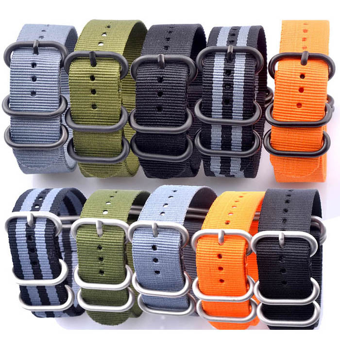 MOD Series G10 NATO Nylon Watch Band Strap Black/Silver Ring Buckle 20mm 22mm 24mm 5 Colors