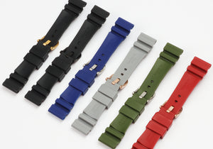 CHOUC22 Waterproof 22mm Rubber Watch Band for Panerai PAM Logo Buckle 4 Colors