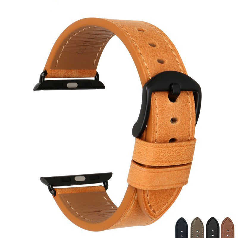 ARTISAN Handsome Genuine Leather Watch Band for Apple Watch 38mm-44mm Series 5 4 3 2 1