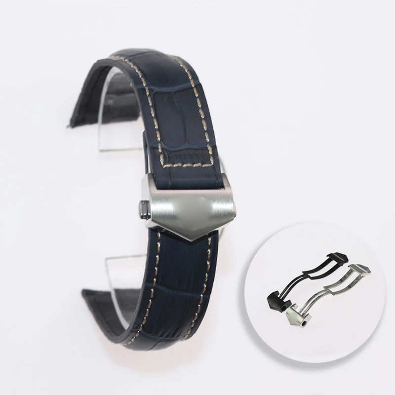 DENIM 20mm 22mm 24mm Leather Watch Strap Band w/Logo For TAG Heuer Carrera Aquaracer