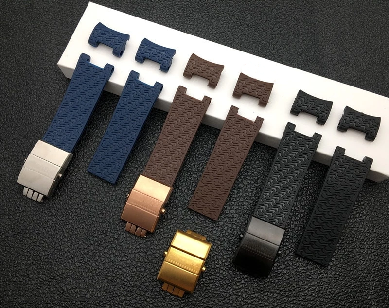WAVES 22mm Soft Natural Rubber Watch Band Strap For Ulysse Nardin Diver Marine
