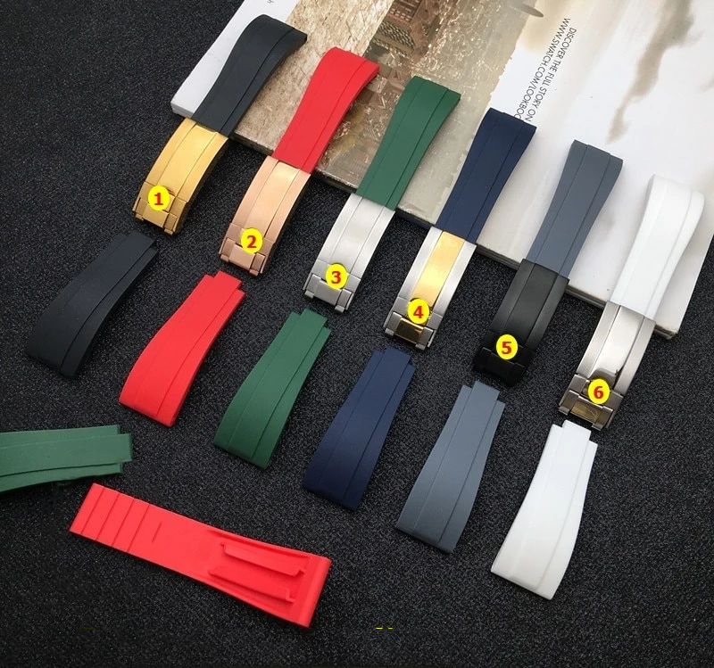 YACHT-E 20mm Silicone Rubber Watch Band Strap For Daytona Submariner GMT Datejust