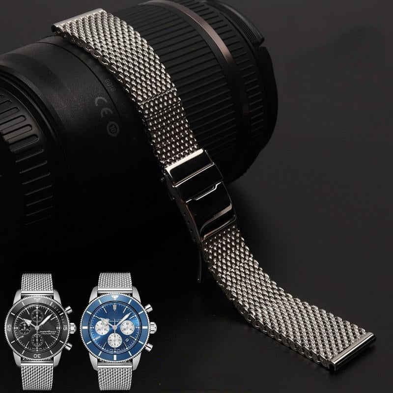HERITAGE 22mm 24mm Mesh Stainless Steel Watch Band Bracelet For Breitling SuperOcean Avenger